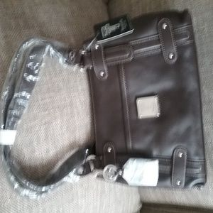 East/West Leather Double Handle Top Zip Shopper